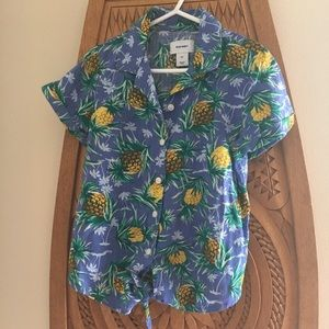 Girl's tropical shirt with tie